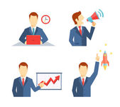 Set of businessman icons in flat style — Stock Vector