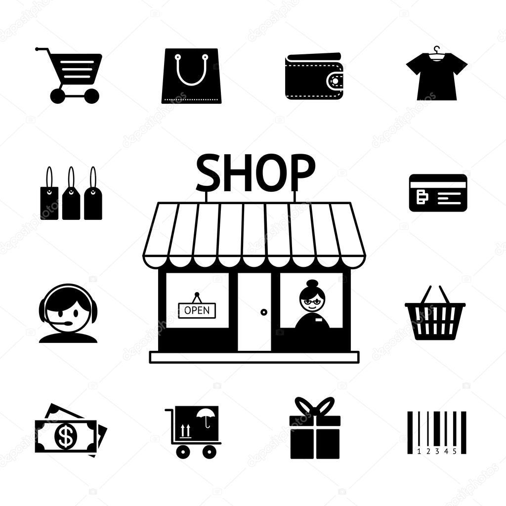 Retail icon black and white