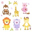 Cute vector cartoon animal set — Stock Vector