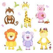 Cute vector cartoon animal set — Stock Vector