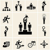 Set of vector business and career icons — Stock Vector