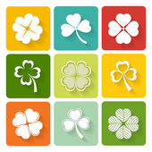 Set of shamrock and clover icons — Vecteur