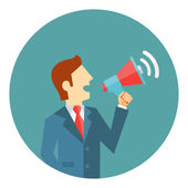 Businessman with a megaphone — Stock Vector