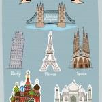 World Landmarks hand-drawn icons set — Stock Vector #45909889