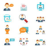 Business communication and web conference icons — Stock Vector