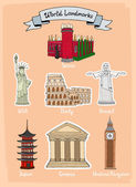 World landmarks icon set — Stock Vector