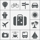 Vector silhouette travel icon set — Stock Vector