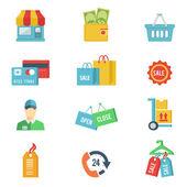 Vector design piatto shopping icone — Vettoriale Stock