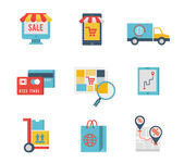 E-commerce symbols and internet shopping elements — Stock Vector