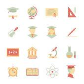 Platte internet onderwijs pictogrammen — Stockvector