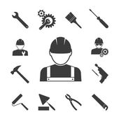 Construction worker icons — Stock Vector