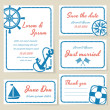Nautical style wedding invitation and cards — Stock Vector #46649567