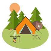 Ormanda kamp — Stok Vektör