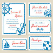 Nautical style wedding invitation and cards — Stock Vector