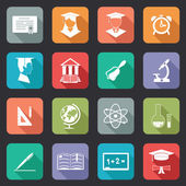 Set of flat school and education icons — Stock Vector