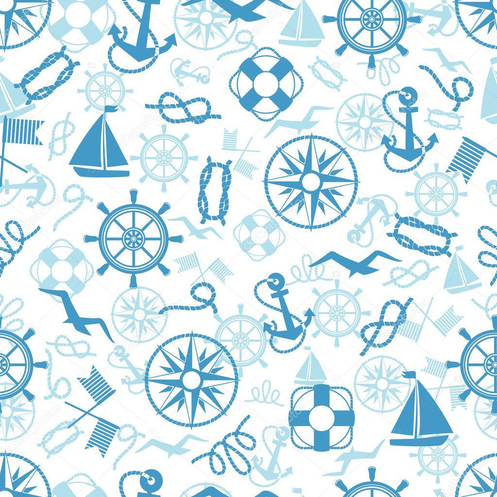 航海或海洋主题无缝模式与锚救生圈绳子结指南针游艇信号旗海鸥和老式