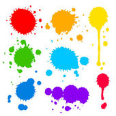 Splats and blobs of colored paint — Stock Vector