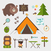 Vector icons forest camping set — Stock Vector
