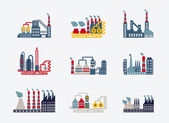 Industrial buildings icons — Stockvector