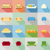 Icons of matching sofa and chair — Stock Vector