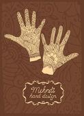 Mehndi Hand design — Stock Vector