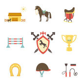 Horse and equestrian icons in flat style — Stock Vector