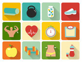 Flat healthy life icons — Stock Vector
