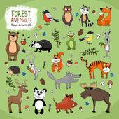 Forest Animals hand-drawn illustration — Stock Vector