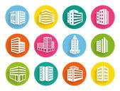 Набор иконок зданий на красочные веб-кнопок — Cтоковый вектор