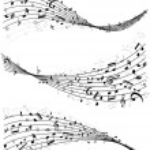 Постер, плакат: Wavy lines of music notes