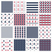 Nautical or marine seamless patterns — Stock Vector