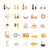 Large set of food and beverage icons — Stock Vector