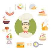 Cooking and food icons in fat style — Stock Vector