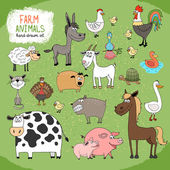 Set of hand-drawn farm animals — Stock Vector
