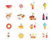 Set of colorful sweets  desserts and cakes icons — Stock Vector