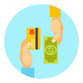 Hands exchanging payment or money in business — Stock Vector