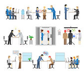 Illustrations of people working in an office — Stock Vector