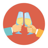Two men toasting with champagne — Stock Vector