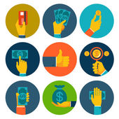 Set of colorful money in hands icons — Stock Vector