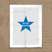 Grunge tattered folded poster template — Stock Vector