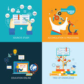 Education icons in flat style — Stock Vector