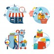 Shopping icons of a store shopping and delivery — Stock Vector