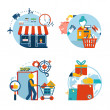 Shopping icons of a store shopping and delivery — Stock Vector #47941215