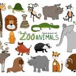 Set of hand-drawn zoo animals — Stock Vector