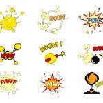 ������, ������: Set of comic cartoon text explosions