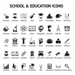 Large set of 40 school and education icons — Stock Vector
