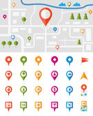 City map with pin pointers — Stockvector