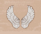 Pair of white wings in vintage style — Stockvector
