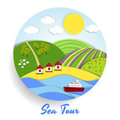 Sea Tour eco emblem — Stock Vector