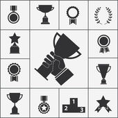 Set of trophy and award icons — Stock Vector